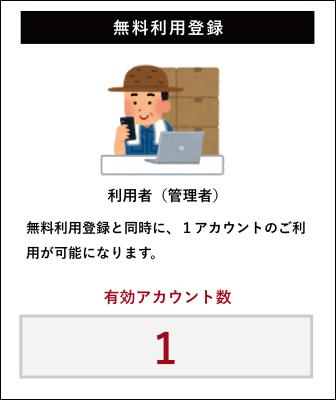 【無料利用登録】無料利用登録と同時に、1アカウントのご利用が可能になります。(有効アカウント数:1)