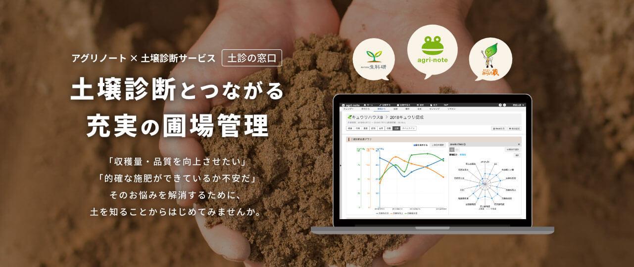 アグリノートとつながる、土壌診断サービス(土診の窓口)土壌診断とつながる充実の圃場管理