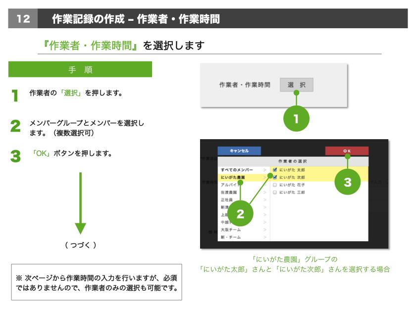 1.作業者の「選択」を押します。2.メンバーグループとメンバーを選択します。(複数選択可)3.「OK」ボタンを押します。