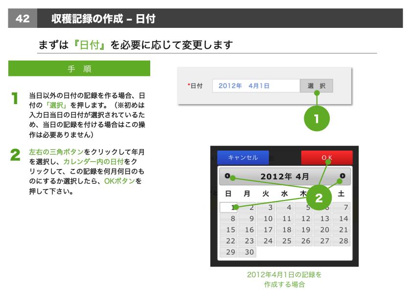 1.当日以外の日付の記録を作る場合、日付の「選択」を押します。(※初めは入力日当日の日付が選択されているため、当日の記録を付ける場合はこの操作は必要ありません)2.左右の三角ボタンをクリックして年月を選択し、カレンダー内の日付をクリックして、この記録を何月何日のものにするか選択したら、OKボタンを押して下さい。