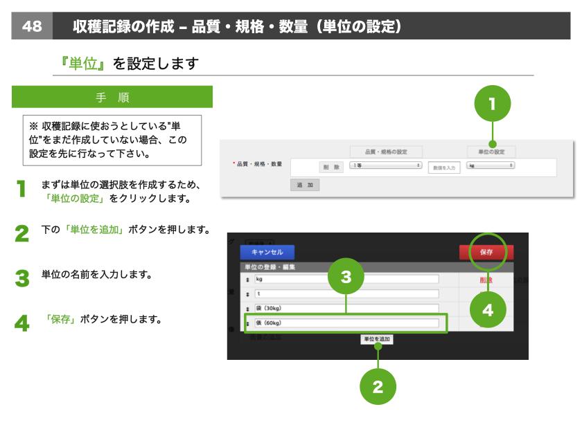 1.まずは単位の選択肢を作成するため、「単位の設定」をクリックします。2.下の「単位を追加」ボタンを押します。3.単位の名前を入力します。4.「保存」ボタンを押します。