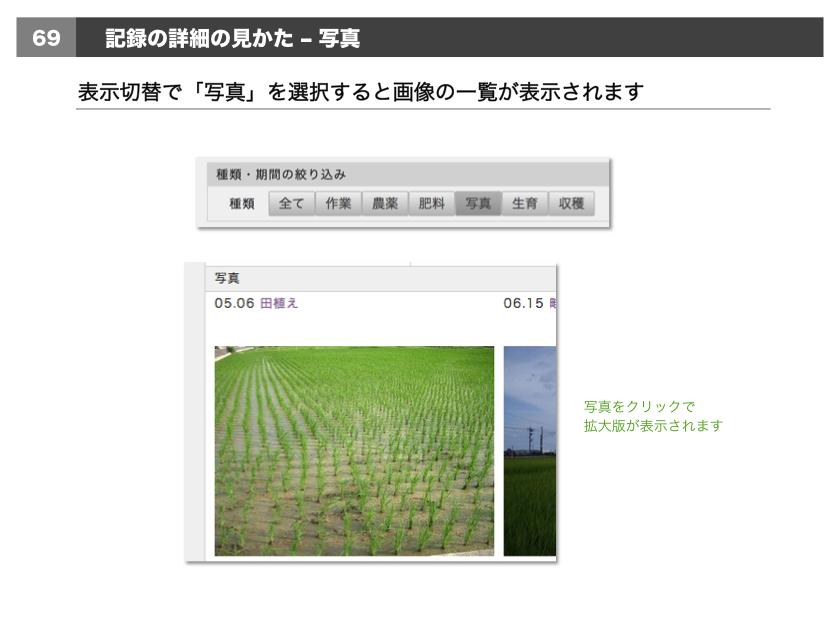 •表示切替で「写真」を選択すると画像の一覧が表示されます