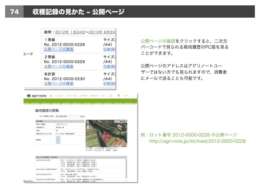 •公開ページの確認をクリックすると、二次元バーコードで見られる栽培履歴のPC版を見ることができます。公開ページのアドレスはアグリノートユーザーではない方でも見られますので、消費者にメールで送ることも可能です。
