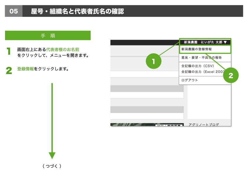1.画面右上にある代表者様のお名前をクリックして、メニューを開きます。2.登録情報をクリックします。