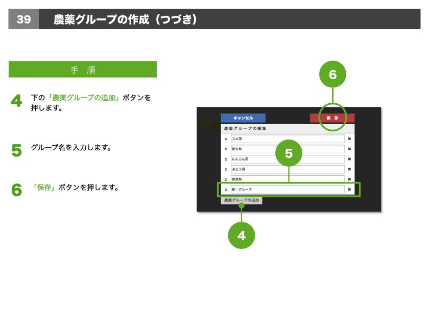 4.下の「農薬グループの追加」ボタンを押します。5.グループ名を入力します。6.「保存」ボタンを押します。