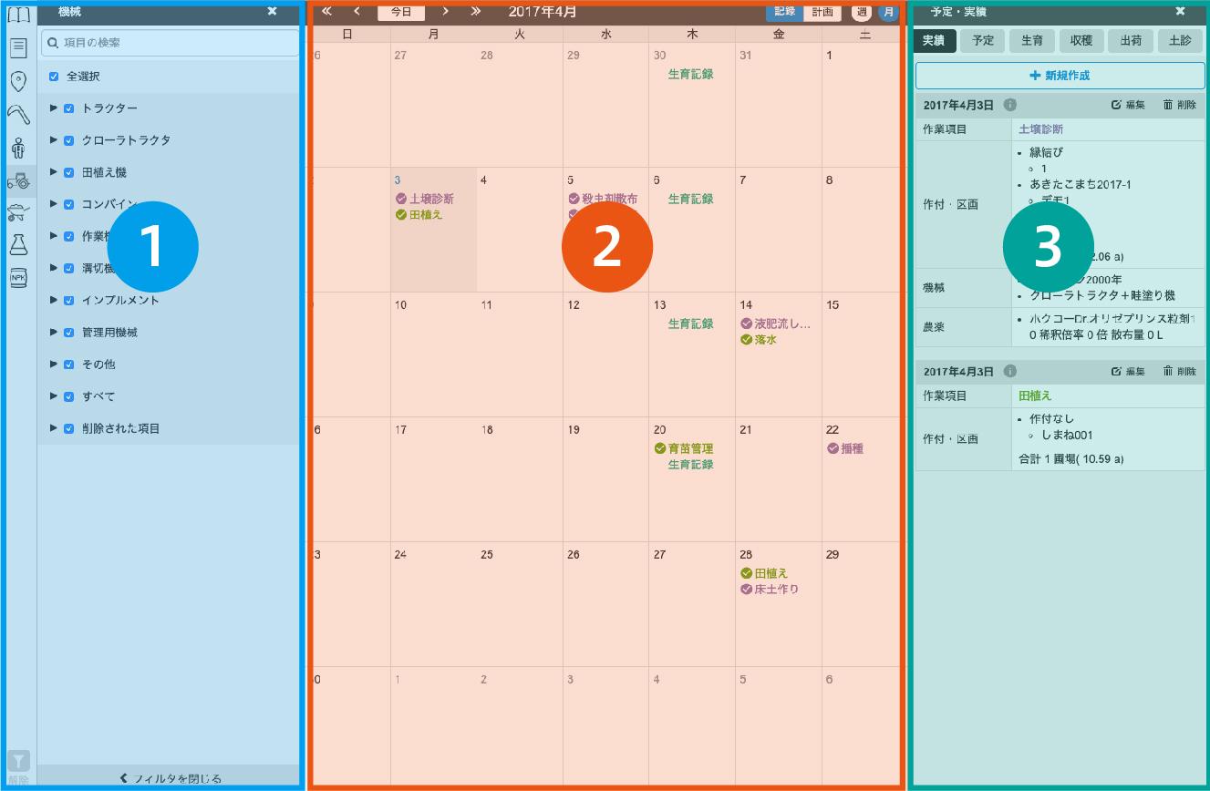 カレンダーの画面説明